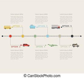 tijdsverloop, infographic, vervoer, icons.