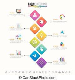 tijdsverloop, ontwerp, mal, infographics