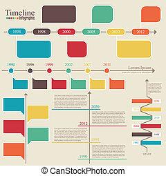 tijdsverloop, template., vector, infographic., ontwerp