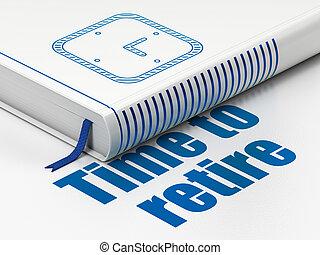 tijdsverloop, terugtrekken, horloge, boek, achtergrond, tijd, witte , concept: