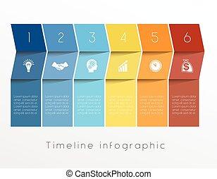 tijdsverloop, zes, infographic, ontwerp, mal, positie