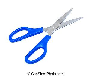 tijeras azules, blanco, aislado, plano de fondo