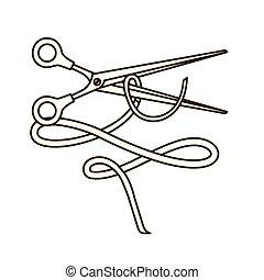 tijeras, cinta blanca, plano de fondo