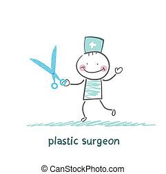 tijeras, cirujano, plástico