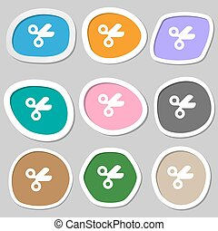 tijeras, peluquero, sastre, icono, symbols., multicolor, papel, stickers., vector