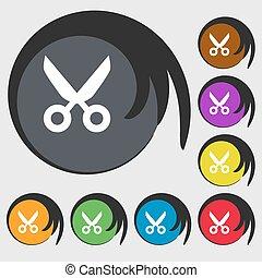 tijeras, peluquero, señal, icon., sastre, símbolo., símbolos, en, ocho, coloreado, buttons., vector