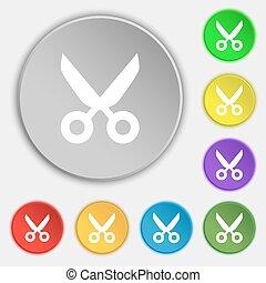 tijeras, peluquero, señal, icon., sastre, símbolo., símbolos, en, ocho, plano, buttons., vector