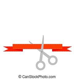 tijeras, plano, decorativo, arranque, corte, línea., rojo, ...