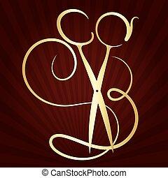tijeras, símbolo, peine