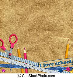 tijeras, y, lápices