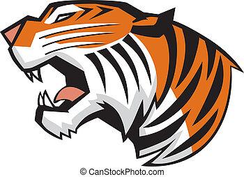 tijger hoofd, gebrul, zijaanzicht, vector
