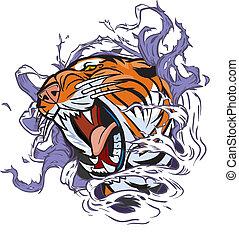 tijger hoofd, het scheuren, uit, achtergrond