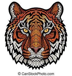 tijger hoofd, vrijstaand