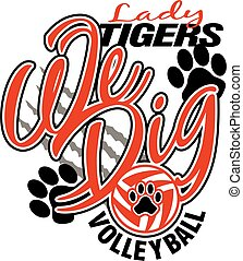 tijgers, dame, volleybal