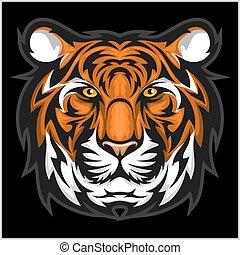 tijgers, illustratie, tiger, vector, head., face.