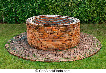 tijolo, antiga, poço