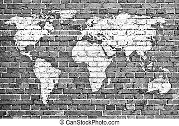 tijolo, antigas, parede, mapa mundial