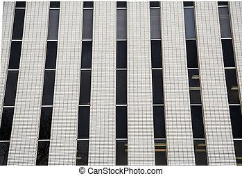 tijolo branco, e, pretas, janelas