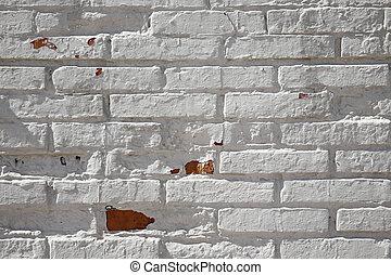 tijolo branco, parede, fundo