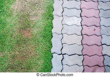 tijolo, capim, verde, fundo, cimento