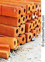 tijolo, construção, pilha, vermelho