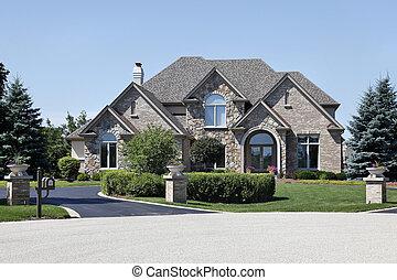 tijolo, e, pedra, lar, com, cedro, telhado