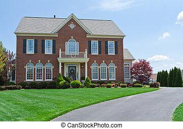 tijolo, enfrentado, única casa familiar, lar, md, eua