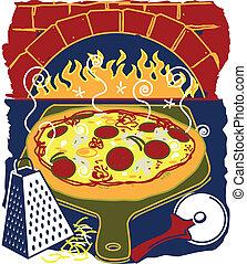 tijolo, forno, pizza