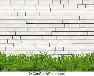 tijolo, isolado, branca, parede verde, capim, experiência.