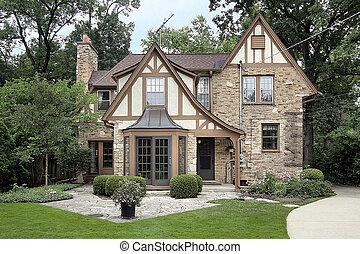 tijolo, lar, e, pedra, pátio