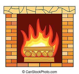 tijolo, lareira, ícone