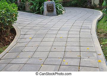 tijolo, maneira, jardim, cimento, passeio