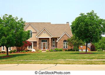 tijolo, residencial, dois relato, lar