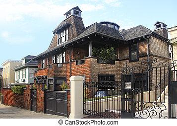 tijolo, residencial, lar
