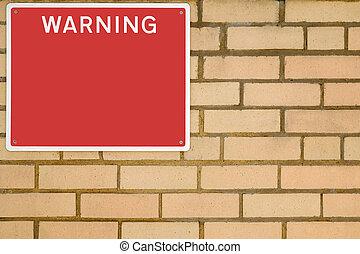 tijolo, sinal aviso, wall.