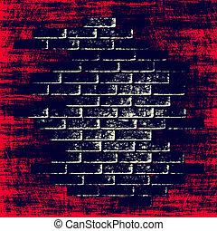 tijolos, abstratos, interior., experiência escura, grungy, vermelho