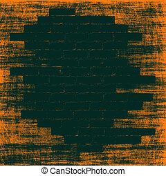 tijolos, abstratos, interior., laranja, experiência preta, grungy