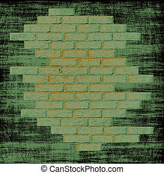 tijolos, abstratos, interior., parede, experiência verde, grungy