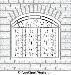 tijolos, branca, ferro, cerca