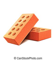 tijolos, branca, vetorial, isolado