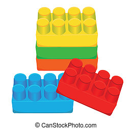 tijolos, brinquedo, crianças, plástico