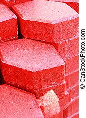 tijolos, construção, vermelho