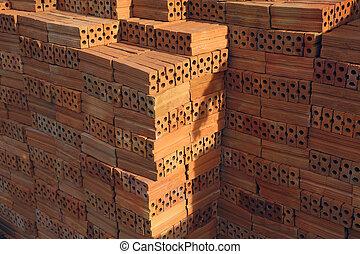 tijolos edifício, construção, pilha