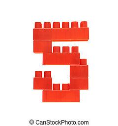 tijolos edifício, feito, número, brinquedo