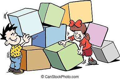 tijolos edifício, grande, ilustração, crianças, vetorial, caricatura, feliz