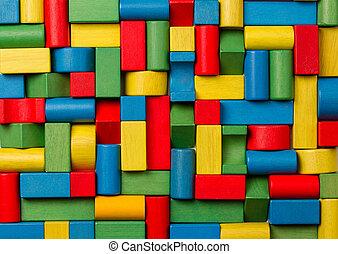tijolos edifício, grupo, coloridos, blocos madeira, pedaços...