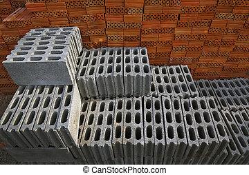 tijolos edifício, pilha, construction.