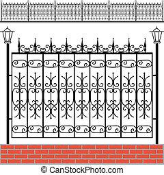tijolos, ferro, cerca, vermelho
