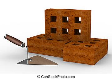tijolos, imagem, trowel, construção, white., 3d