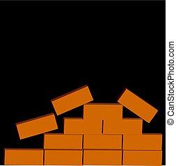 tijolos, pretas, isolado, fundo